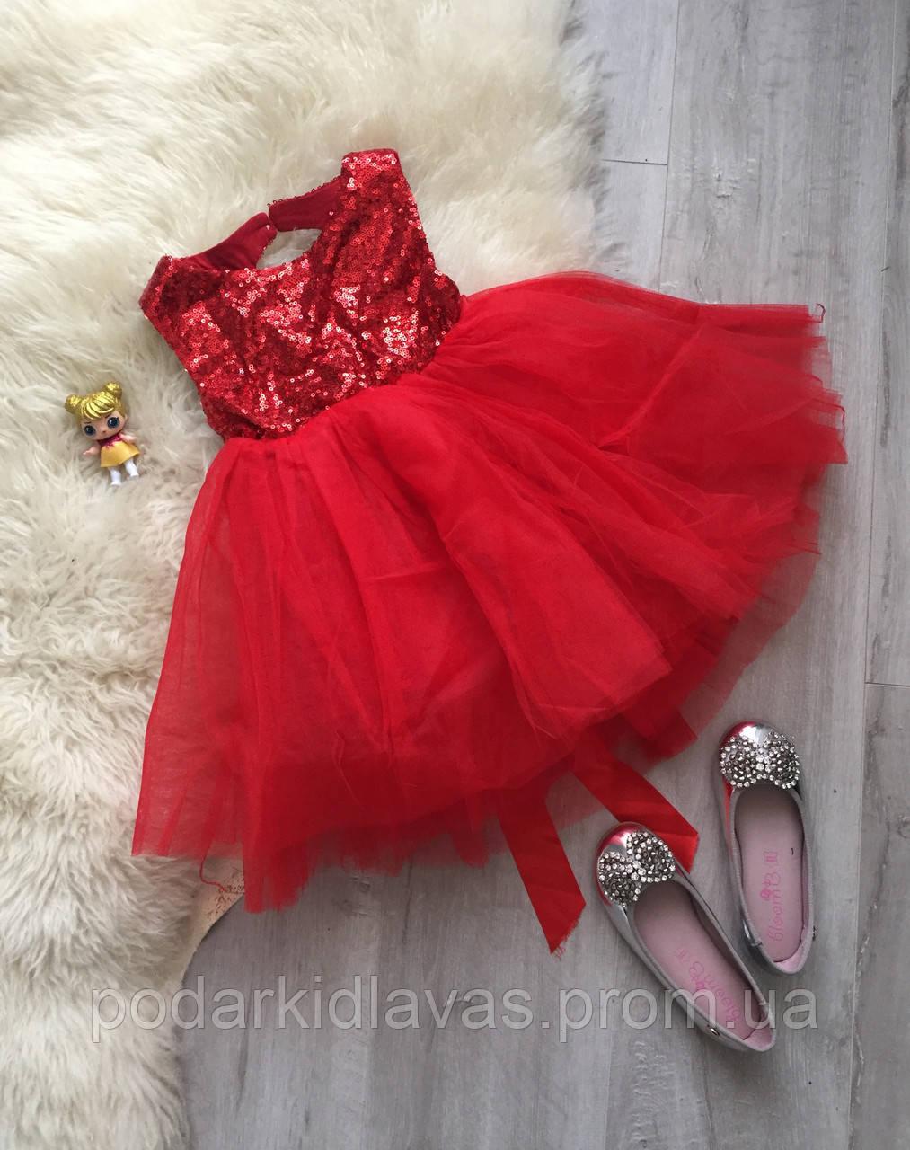 Нарядное красное пышное платье с пайетками на малышку
