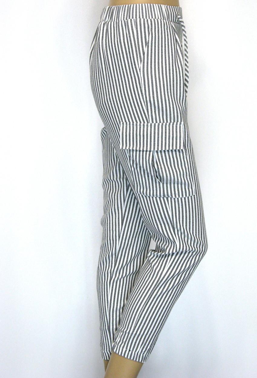 Жіночі літні штани на резинці в полоску з високою талією