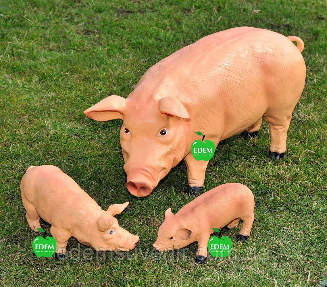 Садовая фигура Свинья большая, Кабанчик средний и Хрюша