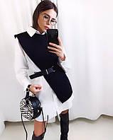Платье- рубашка с накидкой, ткань: креп-костюмка. Размер:С(42-44)М(44-46). Цвет: черный с белым (6352)