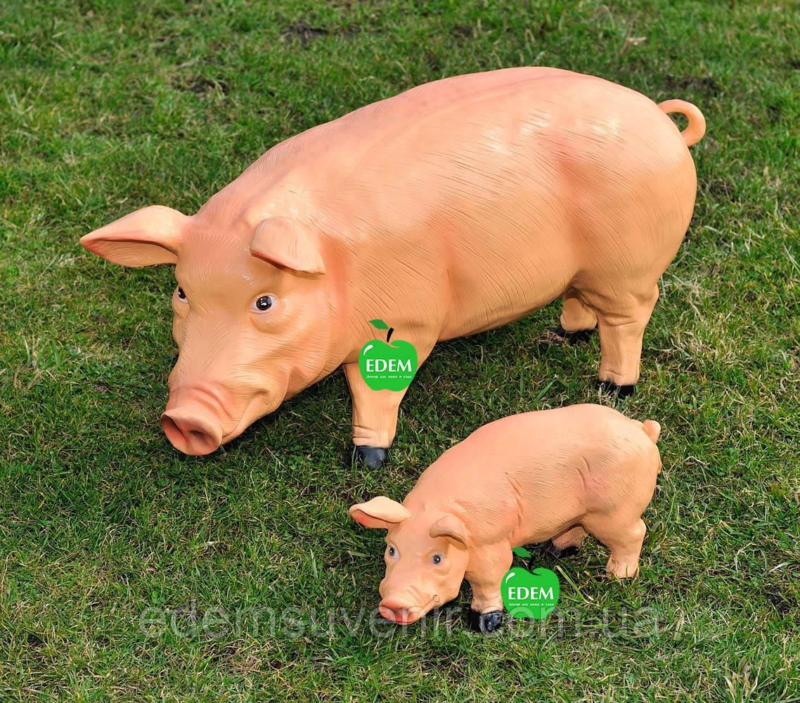 Садовая фигура Свинья большая и Кабанчик средний