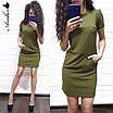 Повседневное трикотажное платье с коротким рукавом и карманами, фото 4
