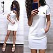 Повседневное трикотажное платье с коротким рукавом и карманами, фото 2