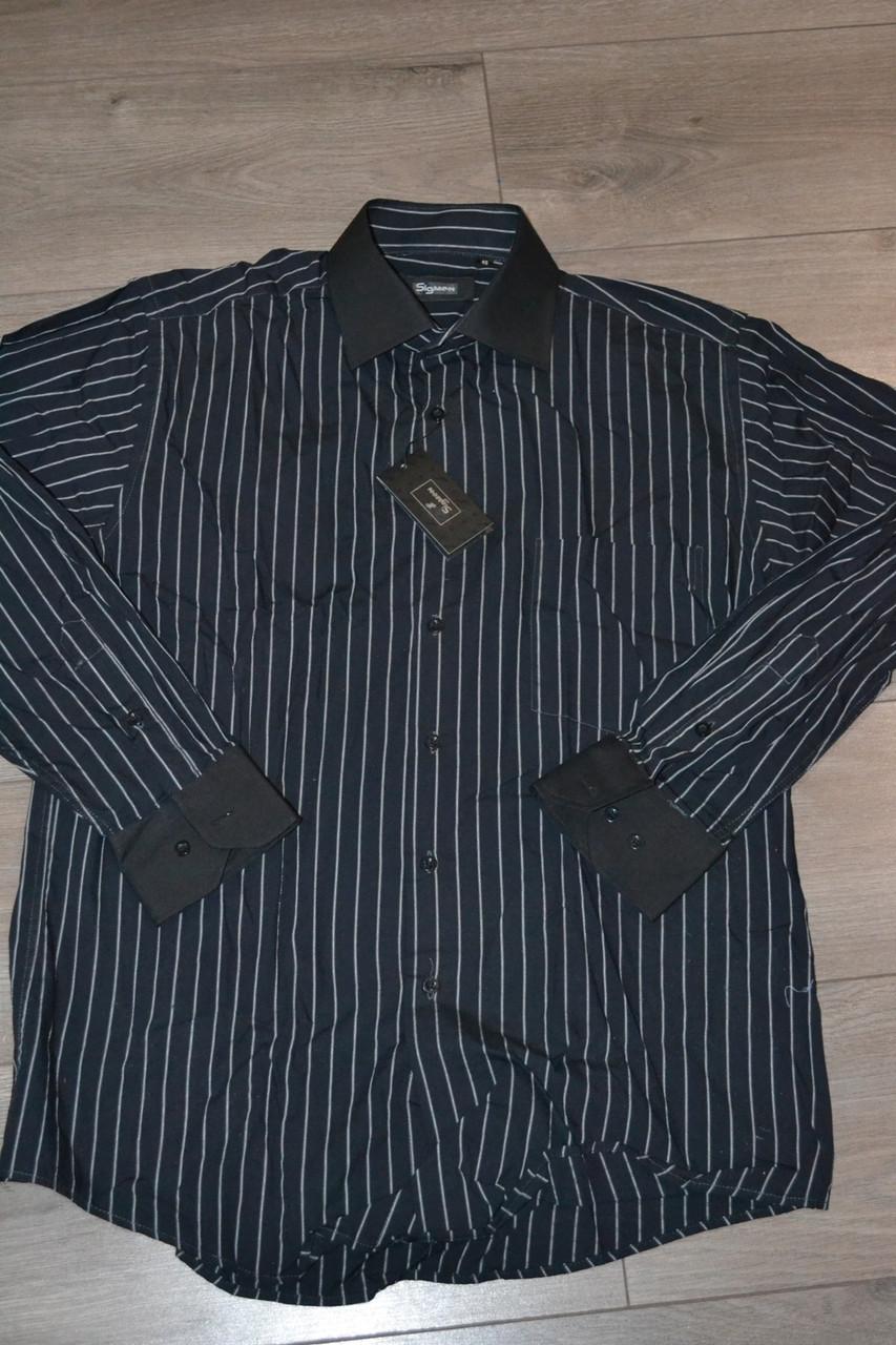 Классическая черная в полоску рубашка SIGMAN (размеры 39,40,41)