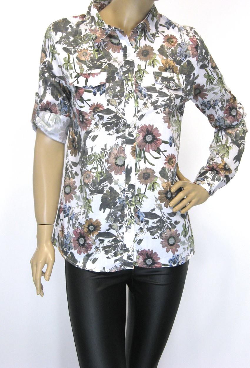 сорочка жіноча літня з квітковим принтом 100% cotton