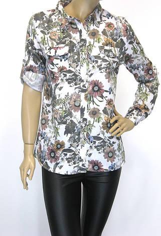 сорочка жіноча літня з квітковим принтом 100% cotton, фото 2