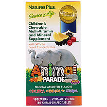 """Дитячі вітаміни і мінерали nature's Plus """"Animal Parade"""" фруктовий смак (180 жувальних таблеток)"""