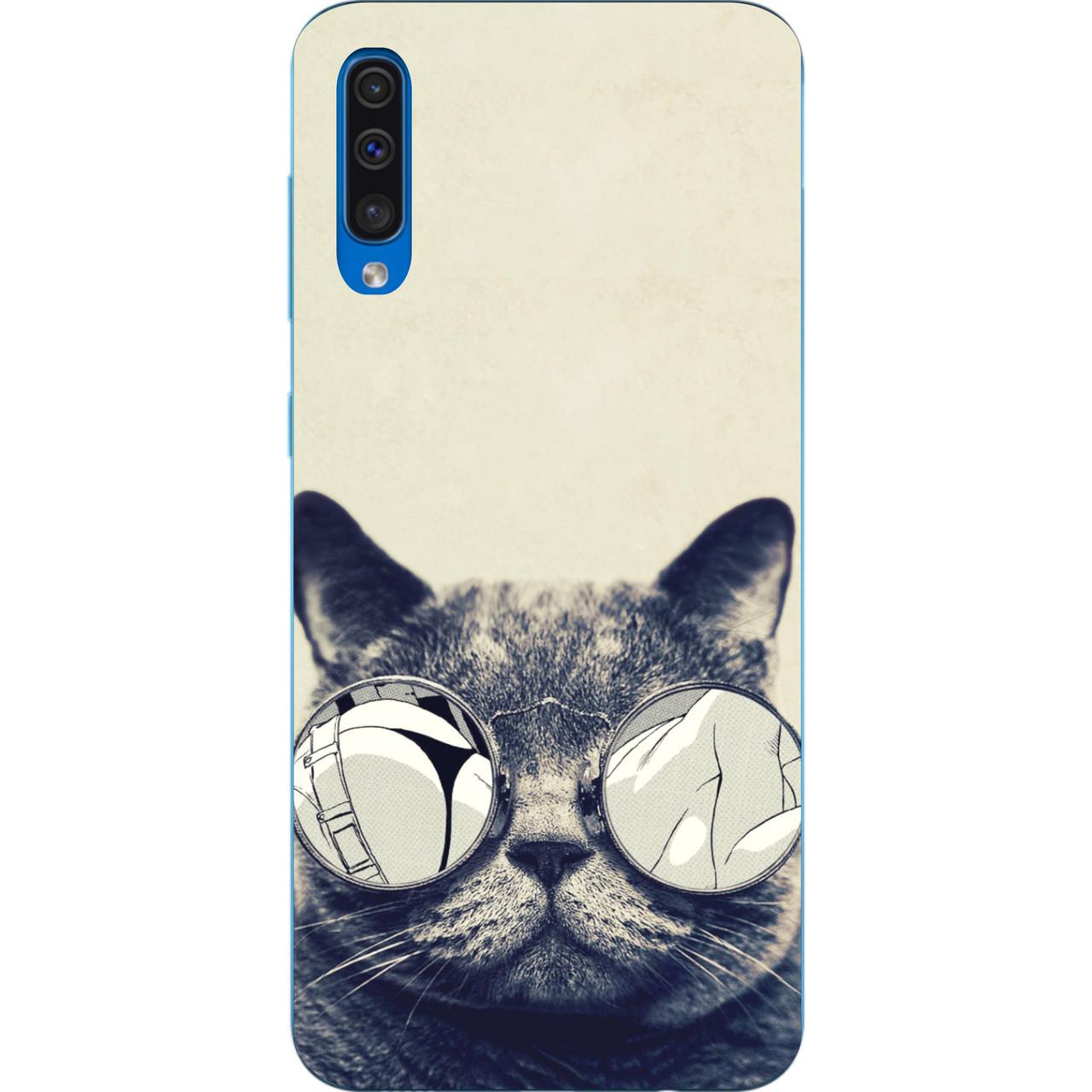 Бампер силиконовый чехол для Samsung Galaxy A50 2019 A505F с картинкой Серый кот в очках