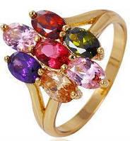Кольцо позолота с разноцветными цирконами Размер 18 (gf654, Кільце позолота з різнокольоровими циркону Розмір 18 (gf654, Ювелирная бижутерия, Ювелірна