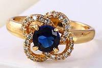 Кольцо позолота с синим цирконом посредине Размер 16 (gf622, Кільце позолота з синім цирконом посередині Розмір 16 (gf622, Ювелирная бижутерия,