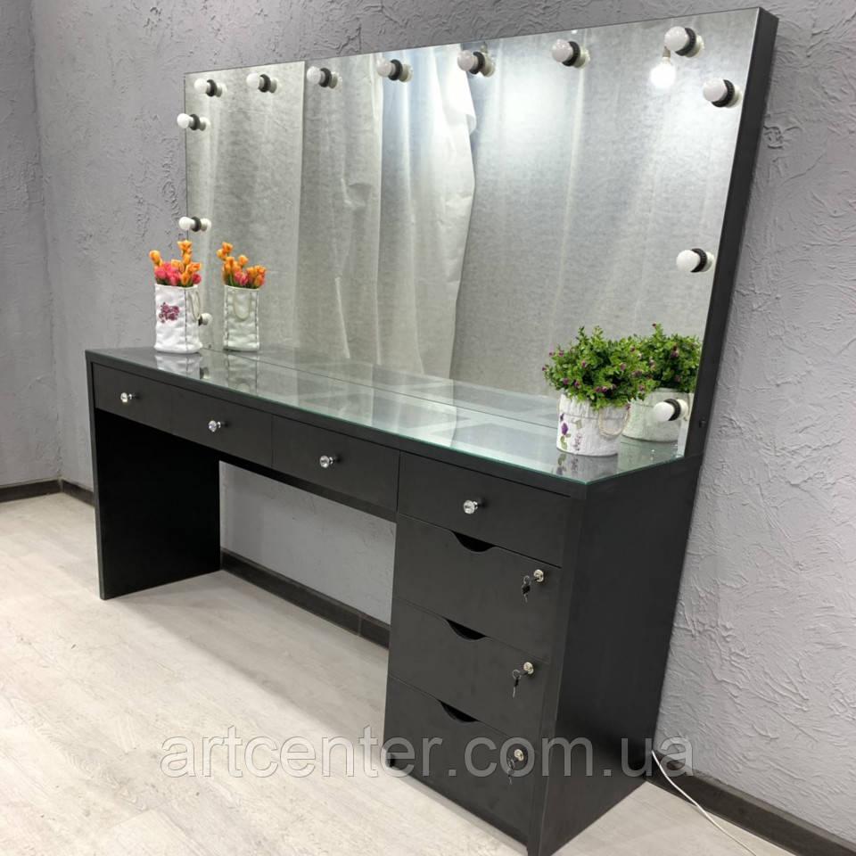 Большой стол для визажиста с тумбой, витриной в столешнице и зеркалом с подсветкой, черный