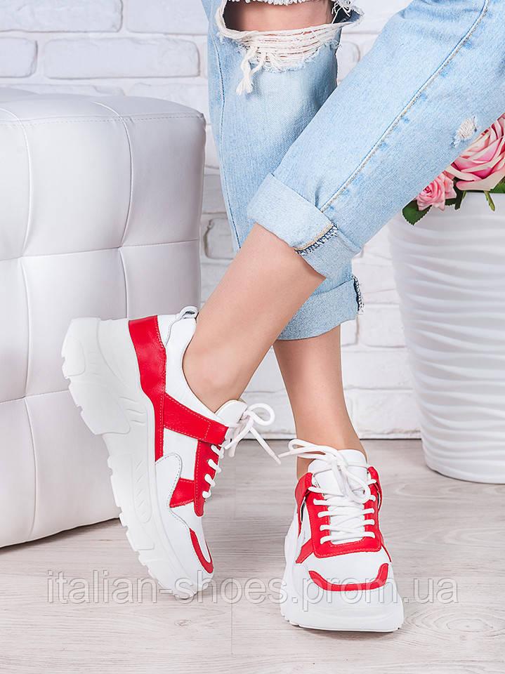 Кроссовки кожа в стиле Balenc!aga бело-красные 6995-28