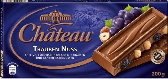 Молочный шоколад Chateau Trauben Nuss с изюмом и Лесным орехом 200гр. Германия