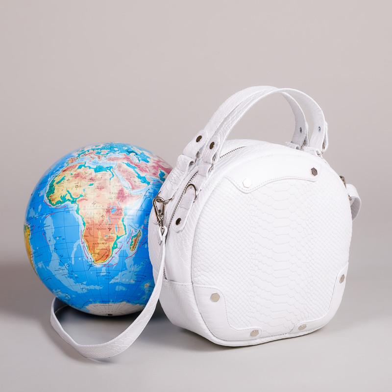 Модная женская белая сумка из натуральной кожи с тиснением под питон . Пошив под заказ в любом цвете