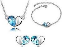 Набор с австрийскими кристаллами (ab67) Колье, серьги, браслет, Набір з австрійськими кристалами (ab67) Кольє, сережки, браслет, Бижутерия, Біжутерія
