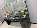 Широкий стол для визажиста со столешницей-витриной, черный, фото 8