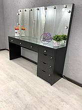 Широкий стол для визажиста со столешницей-витриной, черный