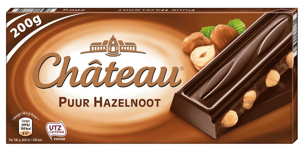 Черный шоколад Шоколад Chateau Puur Hazelnoot с лесным орехом 200гр. Германия