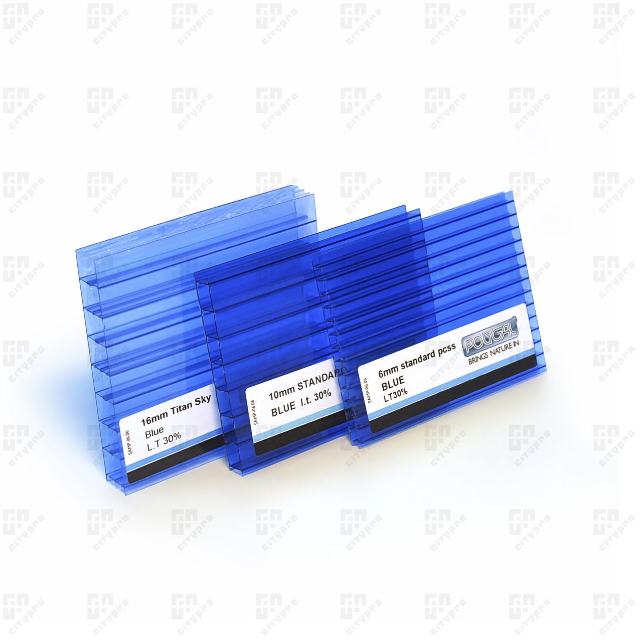 Стільниковий полікарбонат Полігаль, блакитний 30%, лист 2.1 х 12 м, 6 мм