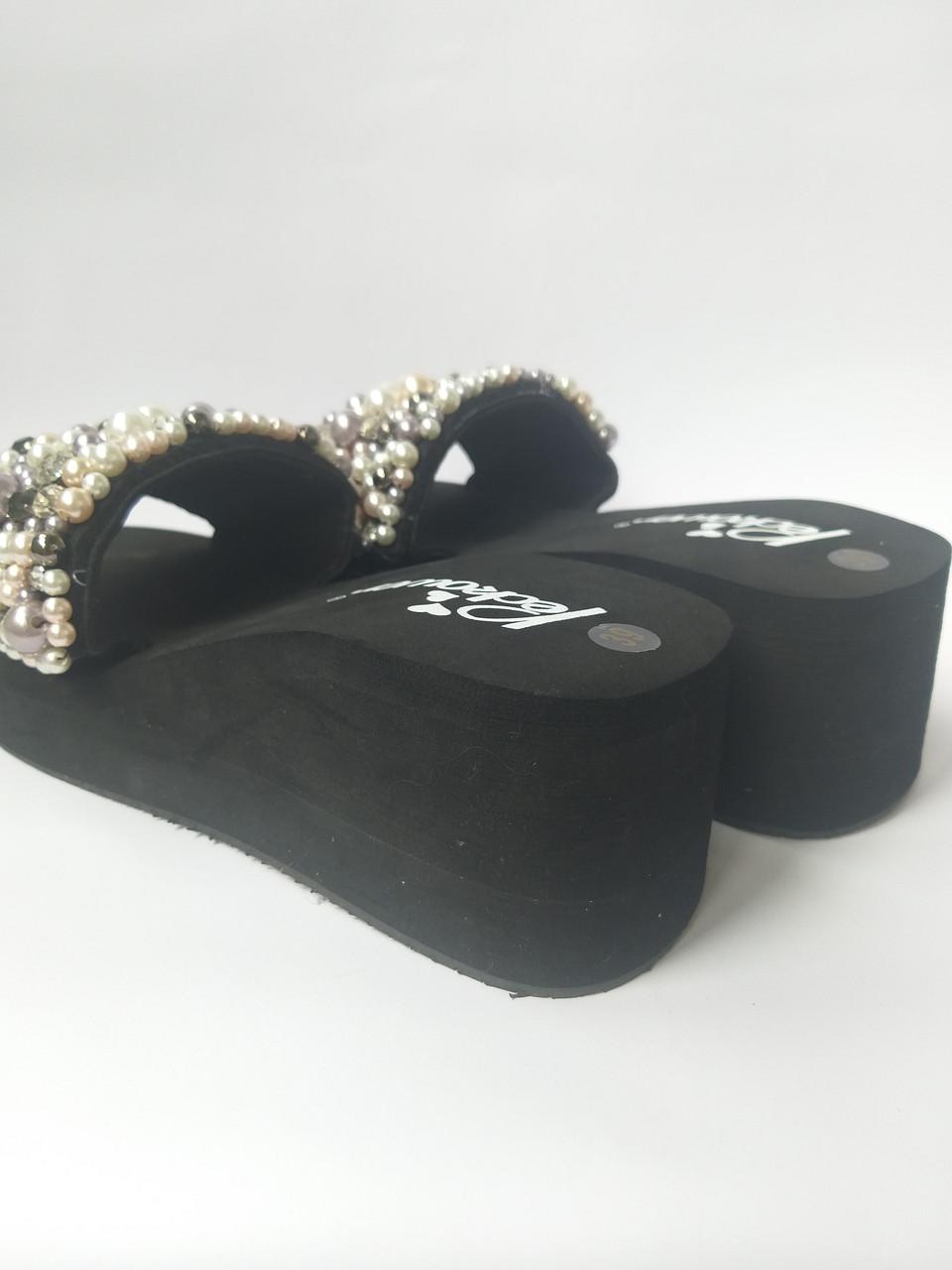 5bdb2102b Женские шлепки с жемчугом на средней удобной платформе: продажа ...