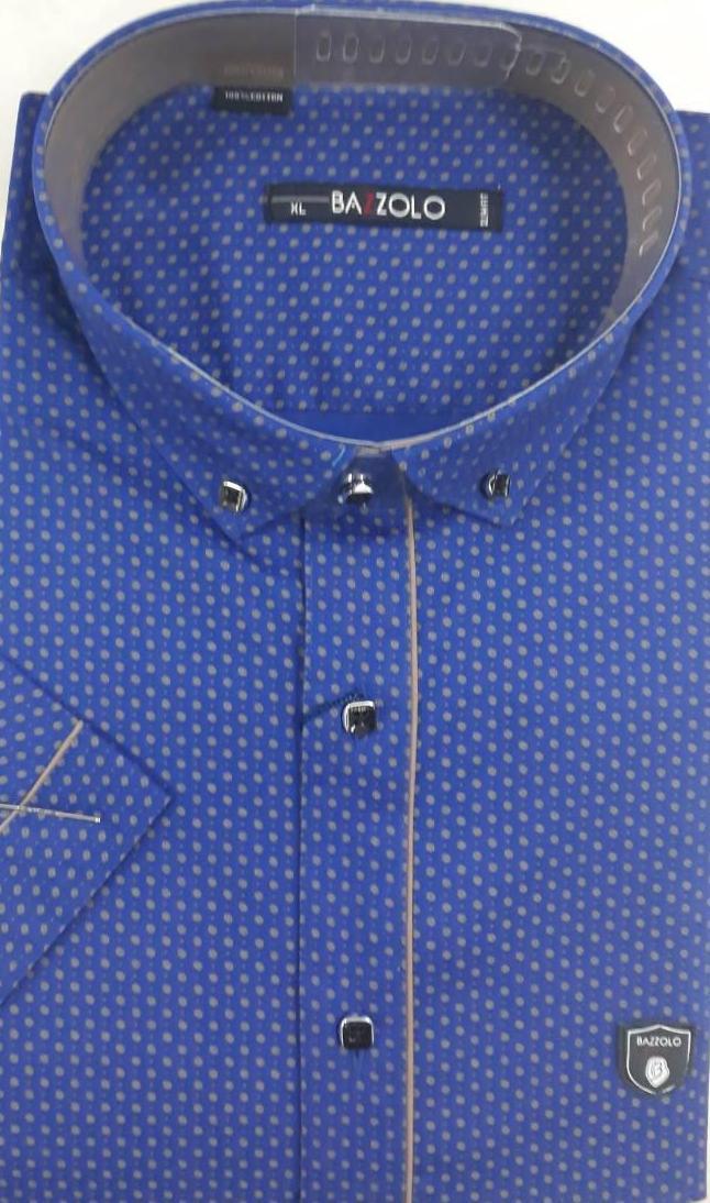 Приталенная синяя молодежная тенниска BAZZOLO с узором-точкой (размеры S.M.L.XL)  S