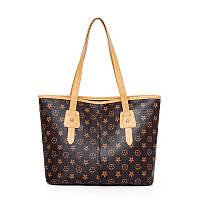 Женская вместительная коричневая сумка со светлыми ручками, фото 1