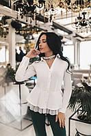 Красивая женская рубашка с сеточкой белого цвета