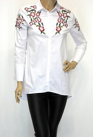 16f7d17dbde301 Подовжена біла жіноча сорочка з вишивкою: купити по доступній ціні у ...