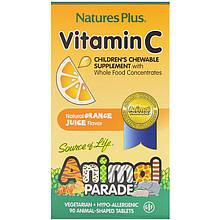 """Вітамін С для дітей nature's Plus, Animal Parade """"Vitamin C"""" смак апельсина, 250 мг (90 жувальних таблеток)"""