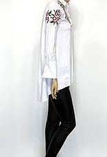 Подовжена біла жіноча сорочка з вишивкою, фото 2