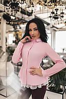 Красивая женская рубашка с сеточкой розового цвета
