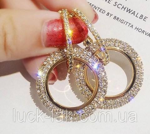 Серьги с кристаллами, цвет - золото