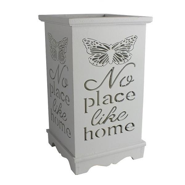 """Деревянный подсвечник """"No place like home"""", LED свеча, белый"""