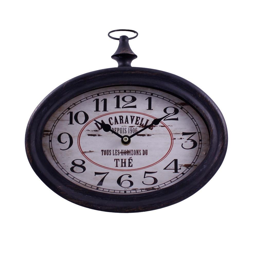 Часы настенные, овальные с петлей, черный