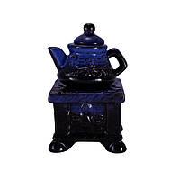 Аромалампа Чайник на подставке, керамика, черный-синий