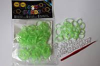 100 штук неоновых салатных резиночек с блёском для плетения Loom Bands