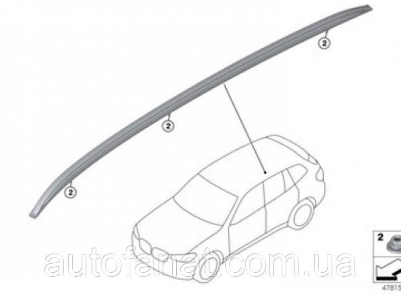 Оригинальный рейлинг на крышу левый серебристый BMW Х3 (G01) (51137414349)