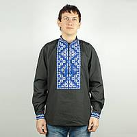 Чорна сорочка вишиванка чоловіча з синьою вишивкою
