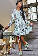 Легкое Летящее Платье на Запах с Рюшами Бирюзовое с Серыми Цветами S-XL