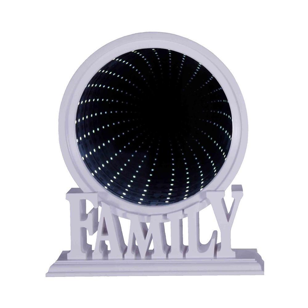"""Зеркало настольное """"Family"""", с подсветкой, эффект бесконечности, пластик, белый"""