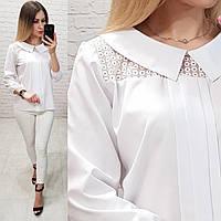 Блуза / блузка арт. 124 белый / белая, фото 1