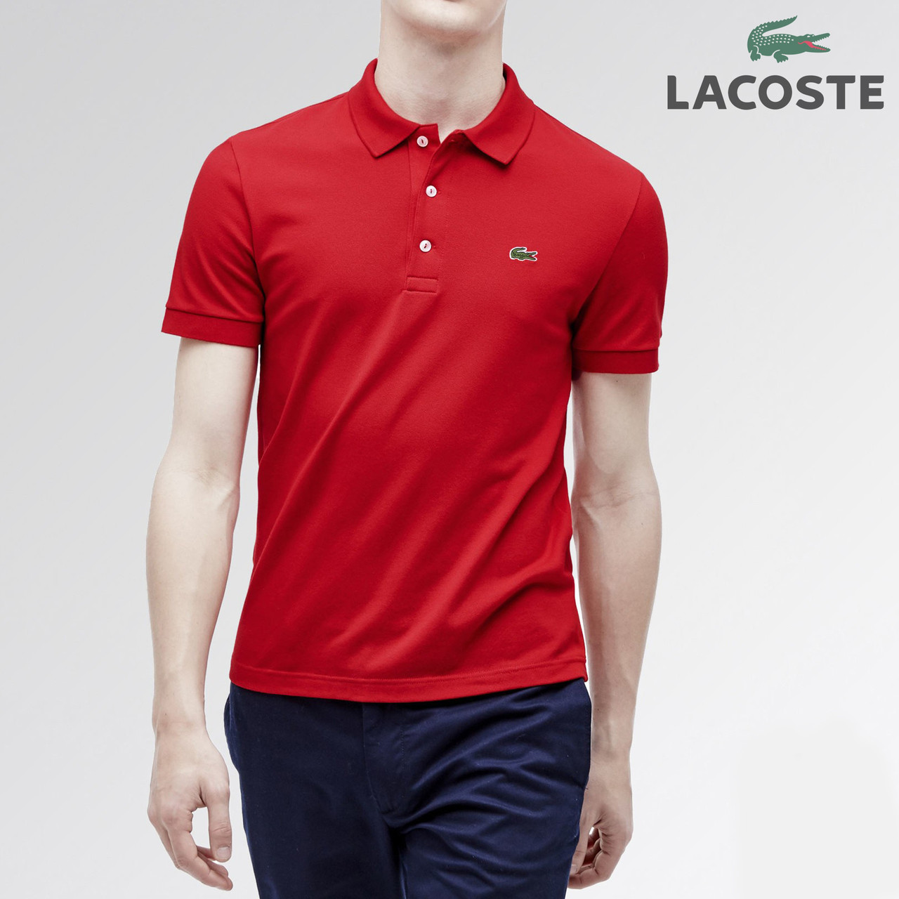 Футболка POLO Lacoste  логотип вышивка красный реплика