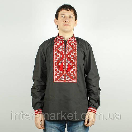 Чорна сорочка вишиванка чоловіча з червоною вишивкою  продажа 14e190008861f