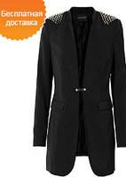 Модный пиджак с заклёпками шипами чёрный блейзер  BODY FLIRT