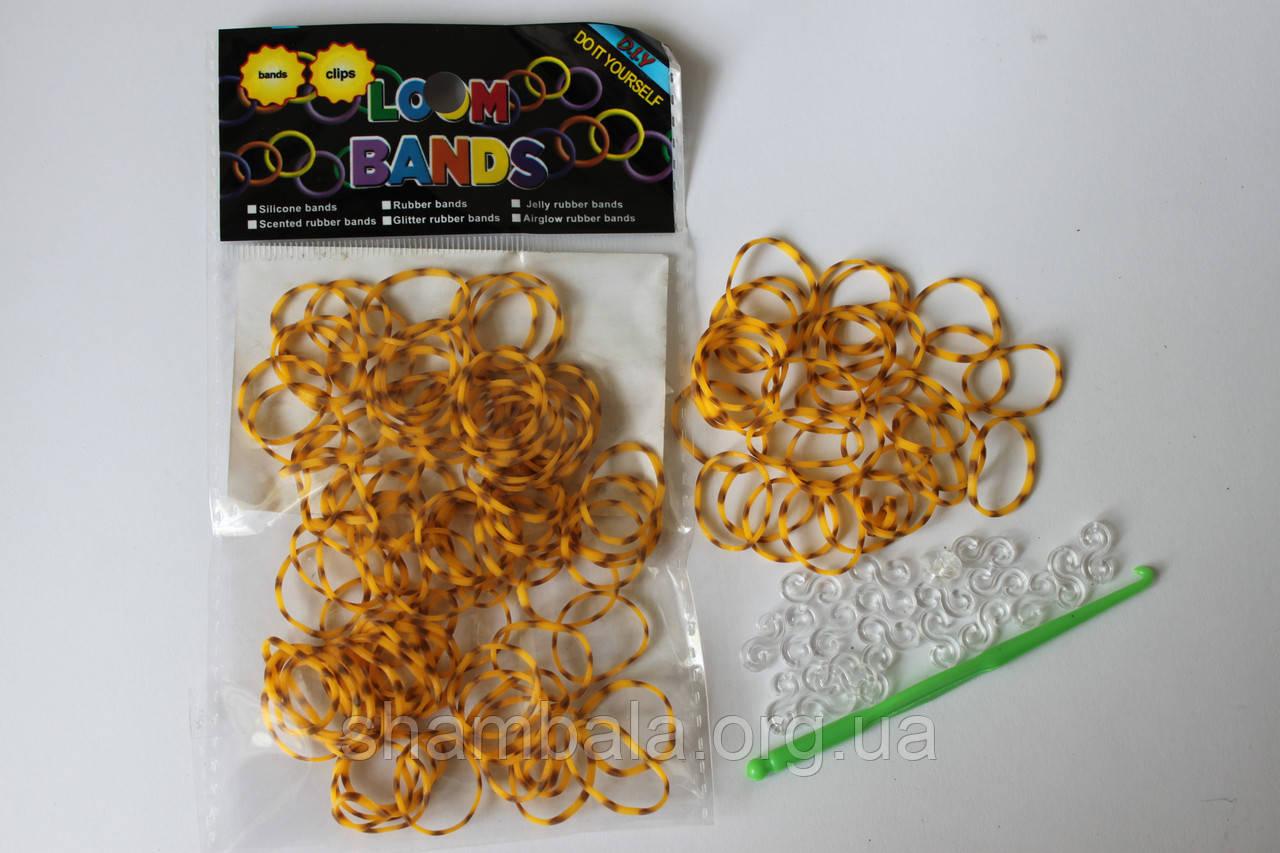 100 штук оранжево-коричневая (зебра) резиночек для плетения Loom Bands