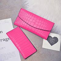 Яркий розовый женский кошелек 2в1 из экокожи, фото 1