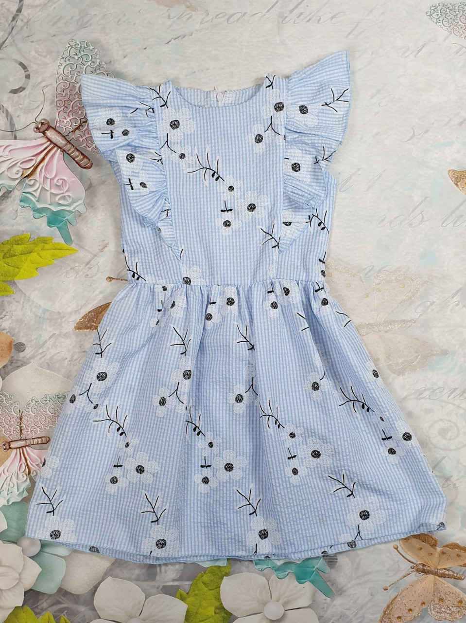 Летнее платье для девочки Куколка р.104-122 голубой