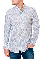 Рубашка мужская белая с голубыми цветами оригинальная Pierre Cardin 39