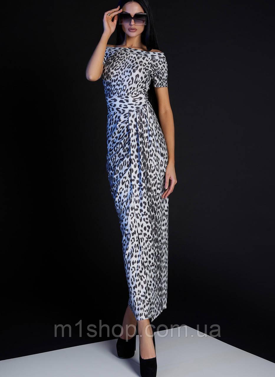 Женское платье в пол с леопардовым принтом (Айша jd)