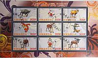 """Руанда Блок """"Disney и животные"""" 2011 г."""